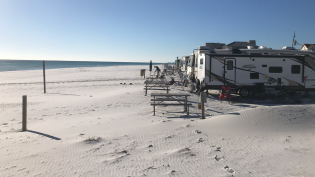 Campers on the beach