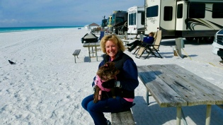 Coco and I freezing on the beach