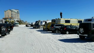 Front row of Camp Gulf located on the beach front