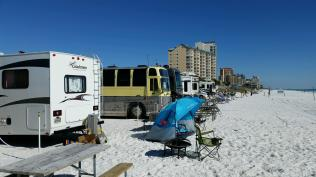 Campers right on the beach