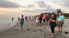 People lined up early to get a picture of the sunset