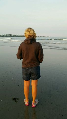 Checking out the beach at low tide.