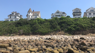Houses on the cliff near Long Sands Beach