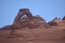 View of the Delicate Arch from a viewpoint before the climb up.
